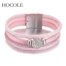 Multi layer <b>Leather Bracelet</b> For Women Men <b>Boho Rhinestone</b> ...