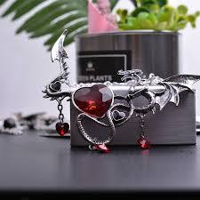 Dragon <b>Necklace</b> Women Men Austrian <b>Crystal Heart Necklaces</b> ...