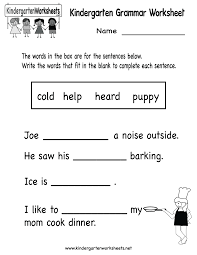 9 Best Images of Free Printable Kindergarten Worksheets Reading ...Free Printable Grammar Worksheets Kindergarten