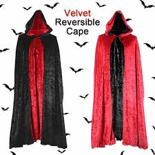 Deluxe Velvet <b>Double Layer Reversible</b> Cape Gothic Black and Red ...