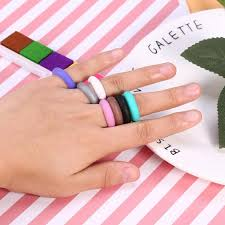 <b>5 Sizes</b> 7Pcs Colors Women <b>Silicone</b> Wedding Ring Set Outdoor ...