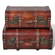 New Brown Vintage <b>Wooden Treasure Box</b> Storage Trunk Chest <b>2</b> x ...