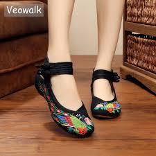 Veowalk Fashion Handmade <b>Vintage</b> Women Ballet Flats <b>Old</b> ...