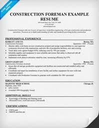 construction and project management specialist resume example    construction foreman sample resume  resumecompanion com