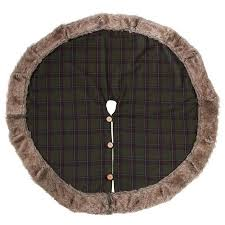 Saro Lifestyle 1890.G52R 52 in. <b>Forester</b> Round Faux Fur Plaid ...