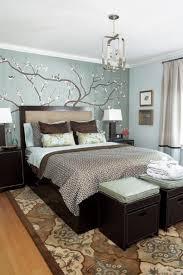 blue brown bedroom light walls