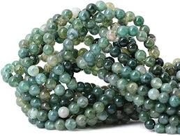 Qiwan 60PCS 6mm <b>Moss</b> Agate Gemstone Loose <b>Beads</b> Natural