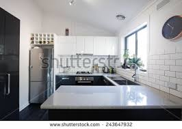 subway kitchen new black white contemporary kitchen subway stock photo 243647932