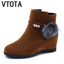vtota 2018 genuine leather women boots for winter warm shoes non slip waterproof ankle snow platform