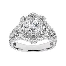 Simply Vera <b>Vera Wang</b> Diamond <b>Flower</b> Engagement Ring in 14k ...