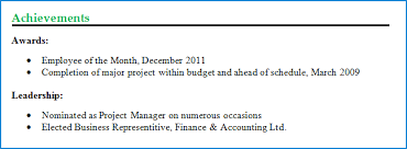 example of how to display achievements on cv achievements for resume examples