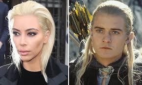 Kim Kardashian blonde hair memes draw Legolas comparison | Daily ... via Relatably.com