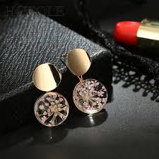 <b>HOCOLE</b> Dry Flower Glass Ball <b>Drop</b> Earrings Women <b>Fashion</b> ...