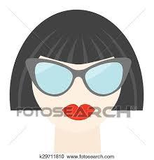 Fashion brunet woman face with <b>sexy red lips</b>, <b>sunglasses</b>, long ...