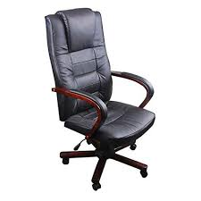 Black <b>Office Chair Artificial</b> Leather Chair Height Adjustable Office ...