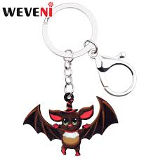 WEVENI Statement Acrylic <b>Halloween</b> Sweet <b>Bat</b> Key <b>Chain</b> ...