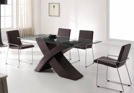 modern wood dining room sets:  gorgeous contemporary dining room furniture with clear glass table furnished with plate table decoration and completed