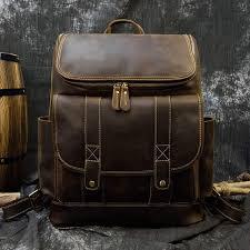 Vintage crazy horse leather men backpack multifunction Fit 15.6 ...