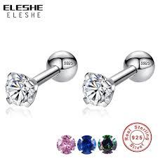 <b>ELESHE CZ AAA Zircon</b> Crystal Round Small Stud Earrings ...