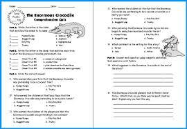 Enormous Crocodile Lesson Plans: Author Roald DahlThe Enormous Crocodile Quiz and Test Printable Worksheets Roald Dahl Lesson Plans