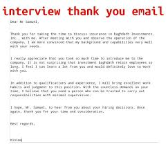 Interview Thank You Email Thank You For the Interview Email ... Interview Thank You Email Template ...