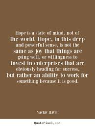 Vaclav Havel image quotes - Hope is a state of mind, not of the ... via Relatably.com