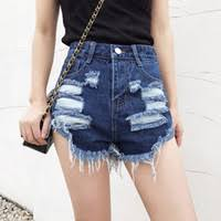 Plus Size Frayed Denim Shorts Online