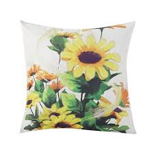 <b>Sunflower Printed</b> Pillow Case Linen Cushion Cover <b>Flower</b> Pattern ...