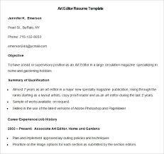 media resume template –    free samples  examples  format    sample art editor resume template