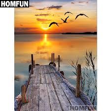"<b>HOMFUN</b> Full Square/Round Drill <b>5D DIY Diamond</b> Painting ""Lake ..."
