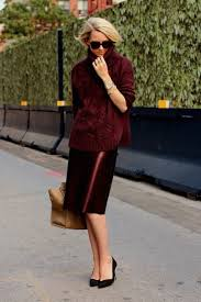 13 stylish and professional outfits to wear on a job interview interview outfit idea burgundy pencil skirt sweater atlantic pacific