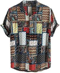 Doad <b>Mens</b> Vintage Ethnic Style <b>Shirts Printing</b> Loose Short Sleeve ...