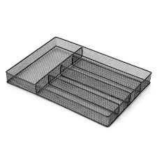 Buy 5-Compartments <b>Mesh Metal</b> Cutlery Flatware Tray Organizer ...
