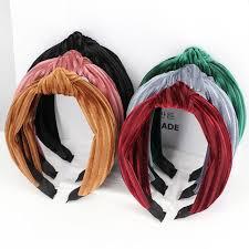 Bohemian Multiple Color <b>Soft</b> Velvet Center <b>Knot</b> Wide <b>Hairband</b> ...