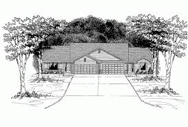 Eplans Ranch House Plan   Charming Duplex   Two Car Garage    Front