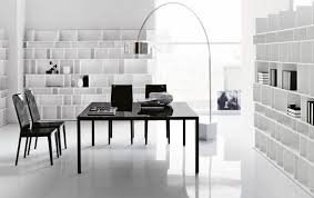 m modern office furniture decor ideas equipped shiny black square desk including double chairs near elegant curving floor lamp also appealing white wooden interior cool office desks