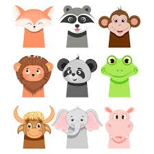 Childish animals: <b>fox</b>, monkey, raccoon, lion, <b>panda</b>, bull, <b>elephant</b> ...