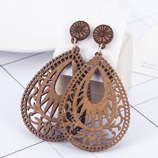 <b>Vintage Hollow</b> Out Water Drop Shaped <b>Wooden</b> Earrings - Bellelily