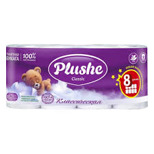 Туалетная бумага 8 рул*18 м, 2 слоя, белая, (<b>Plushe</b> Classic ...