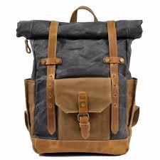 M155 <b>Fashion Backpack</b> Leather Canvas <b>Men Backpack</b> School ...