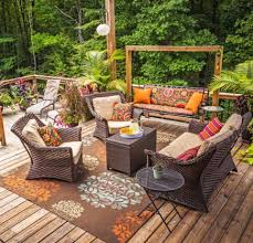 brown wicker outdoor furniture dresses:  ideas to dress up your deck