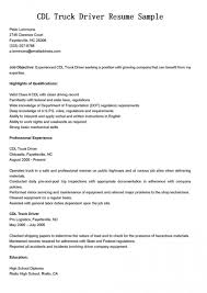 truck driver resume objective examples sample resumes truck driver