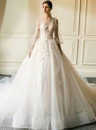 <b>Champagne Tulle Appliques</b> Long Sleeve <b>Wedding</b> Dress With Train
