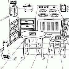 Small Picture Learning Spanish Kitchen Coloring Page Sesame Street Coloring