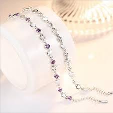 <b>TJP Charm</b> Crystal Purple Female Anklets Jewelry Fashion Girl <b>925</b> ...