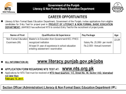 literacy and non formal basic education department nts jobs 2017 official advertisement for literacy and non formal basic education department nts jobs 2017
