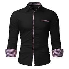 Shop Incerun <b>Mens</b> Buttons <b>Plaid</b> Slim Fit <b>Formal Dress</b> Shirt - Black ...