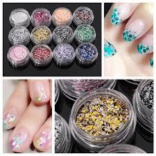 12Pcs Glitter <b>Nail Art</b> Tips Acrylic Powder Dust <b>Manicure</b> Set ...