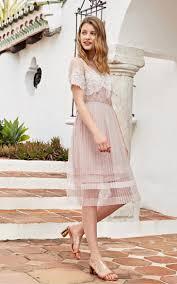 Vero Moda <b>2019 new lace</b> pleated mid-length A-line dress 31927B565
