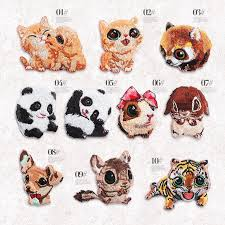 <b>1 PC Cute Cat</b> Panda Tiger <b>Embroidery</b> Animal Stickers Clothing ...